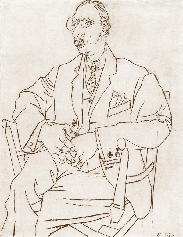 Картина Пабло Пикассо. Портрет Игоря Стравинского. 1920