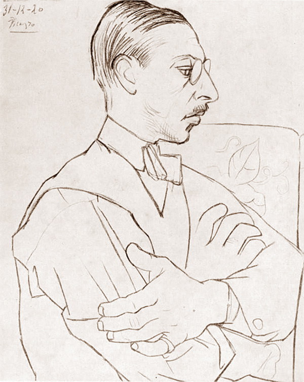 Картина Пабло Пикассо. Портрет Игоря Стравинского (в профиль). 1920