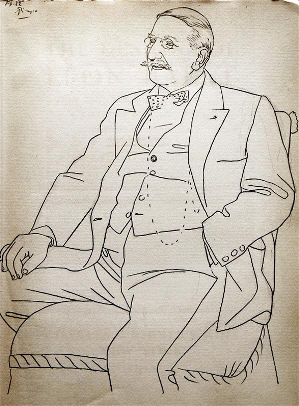 Картина Пабло Пикассо. Портрет Леона Бакста. 1922