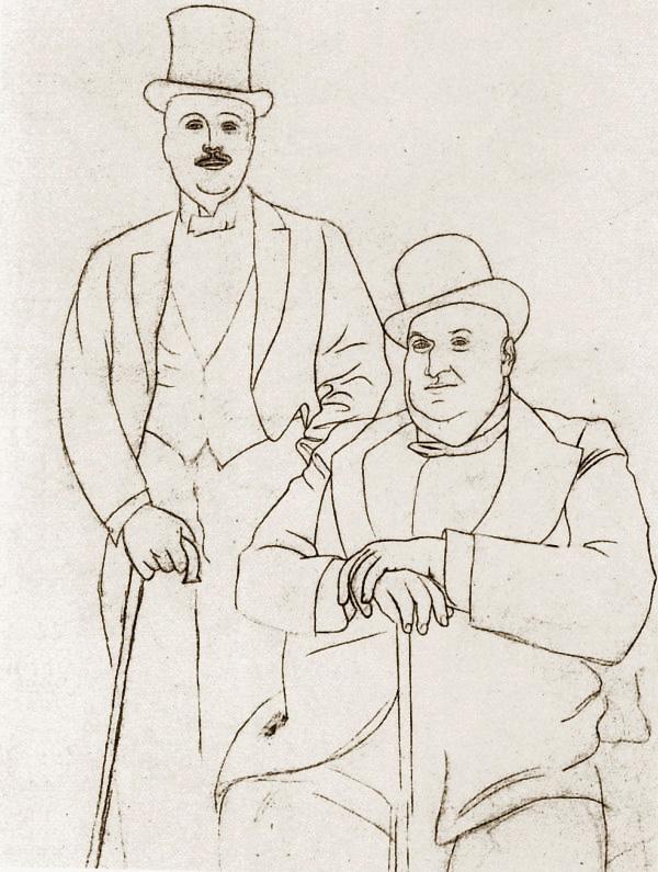 Картина Пабло Пикассо. Портрет Сергея Дягилева и Альфреда Cелигсберга. 1919