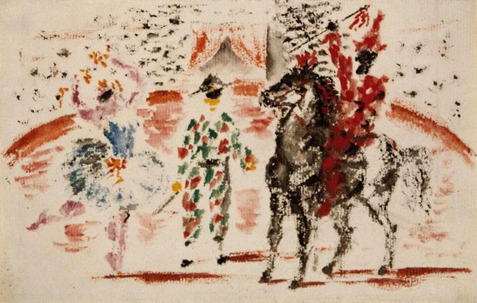 Картина Пабло Пикассо. Эскиз занавеса к балету Пульчинелла. 1920