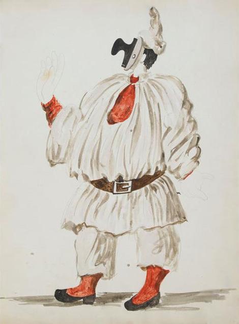 Картина Пабло Пикассо. Эскиз костюма Пульчинеллы для балета «Пульчинелла». 1920