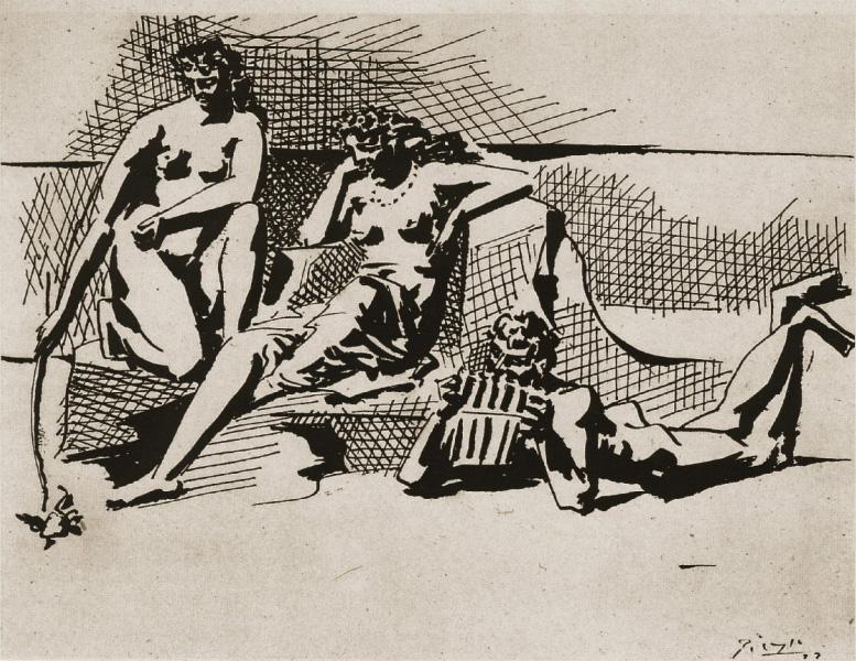 Картина Пабло Пикассо. Две купальщицы и играющий на флейте Пан. 1923