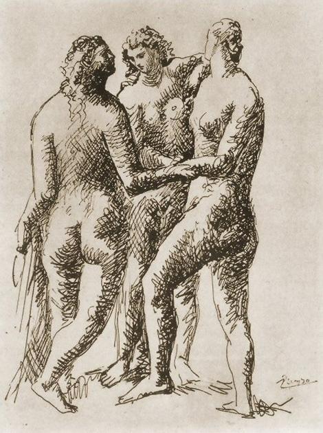 Картина Пабло Пикассо. Три грации. 1923