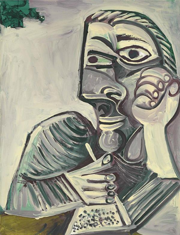 Картина Пабло Пикассо. Бюст пишущего человека (Автопортрет). 1971 ($6,6 млн)