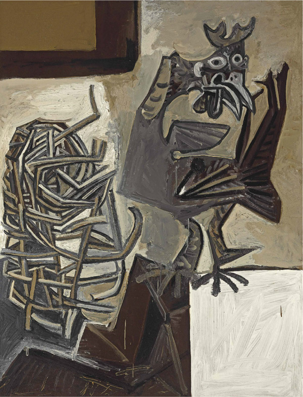 Картина Пабло Пикассо. Петух и плетеная корзина. 1950