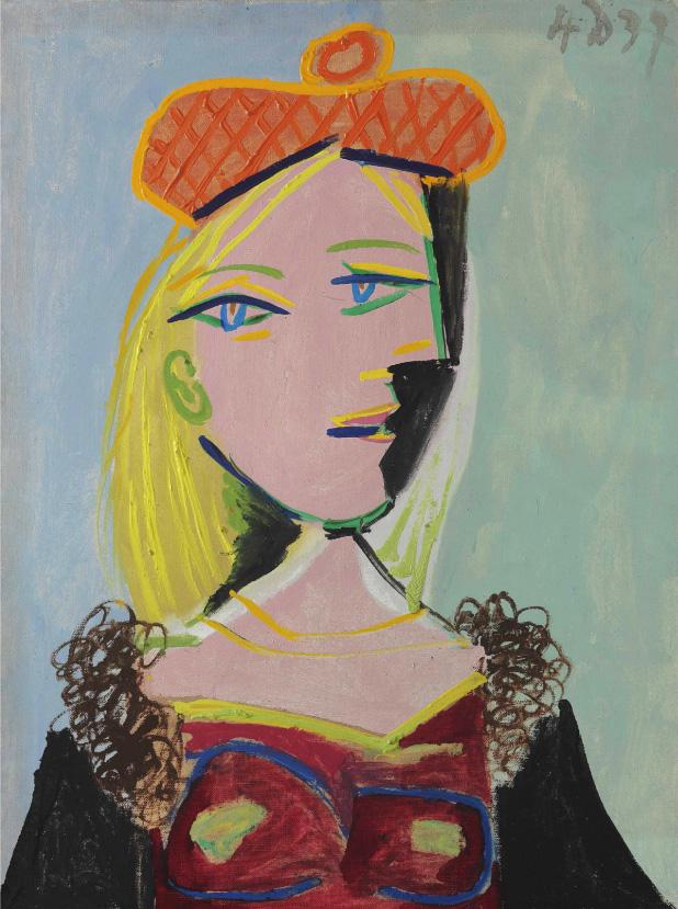 Картина Пабло Пикассо. Женщина в оранжевом берете и меховом воротнике (Мария-Тереза). 1937 ($12,1 млн)