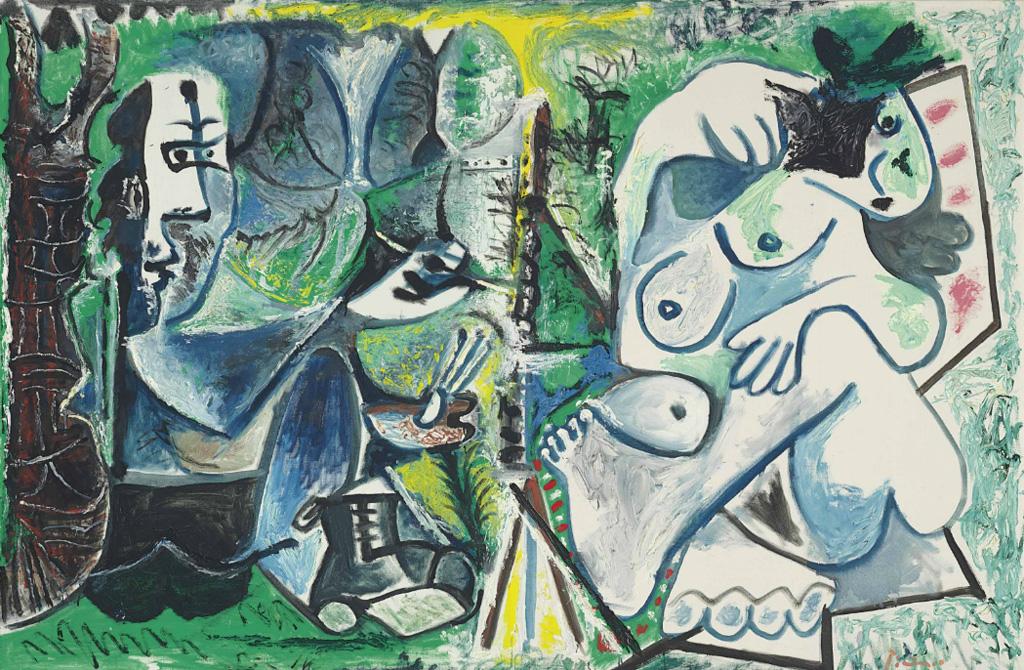 Картина Пабло Пикассо. Художник и его модель на фоне пейзажа. 1963