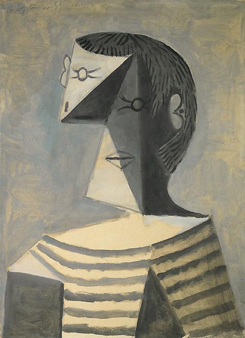Картина Пабло Пикассо. Поясной портрет мужчины в полосатой кофте (в тельняшке). 1939