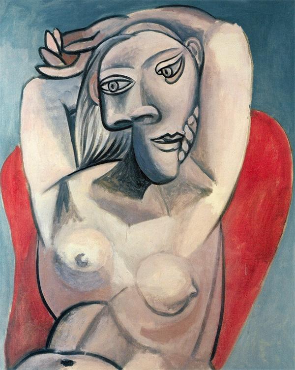 Картина Пабло Пикассо. Женщина в красном кресле. 1939