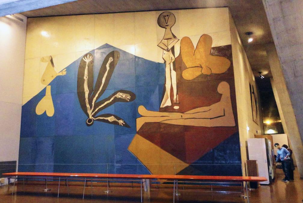 Картина Пабло Пикассо. Падение Икара. Роспись для штаб-квартиры ЮНЕСКО в Париже. 1958