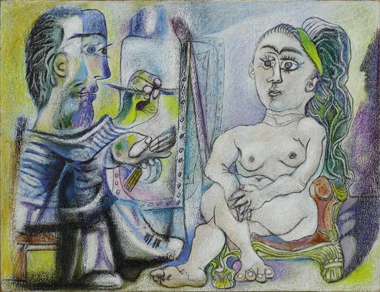Картина Пабло Пикассо. Художник и модель 5. 1963