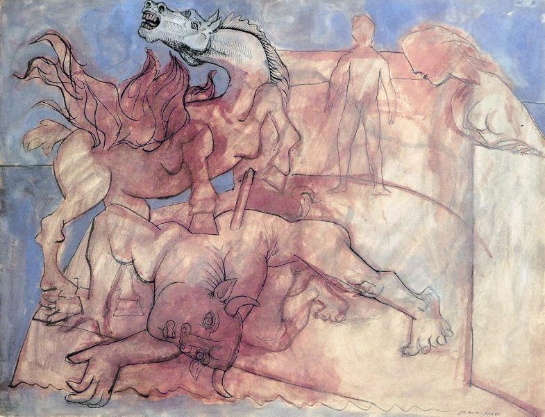 Картина Пабло Пикассо. Раненый Минотавр, лошадь и персонажи. 1936