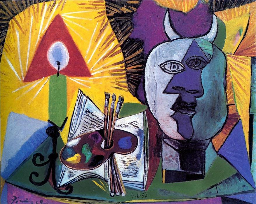 Картина Пабло Пикассо. Натюрморт со свечой, палитрой и головой Минотавра. 1938