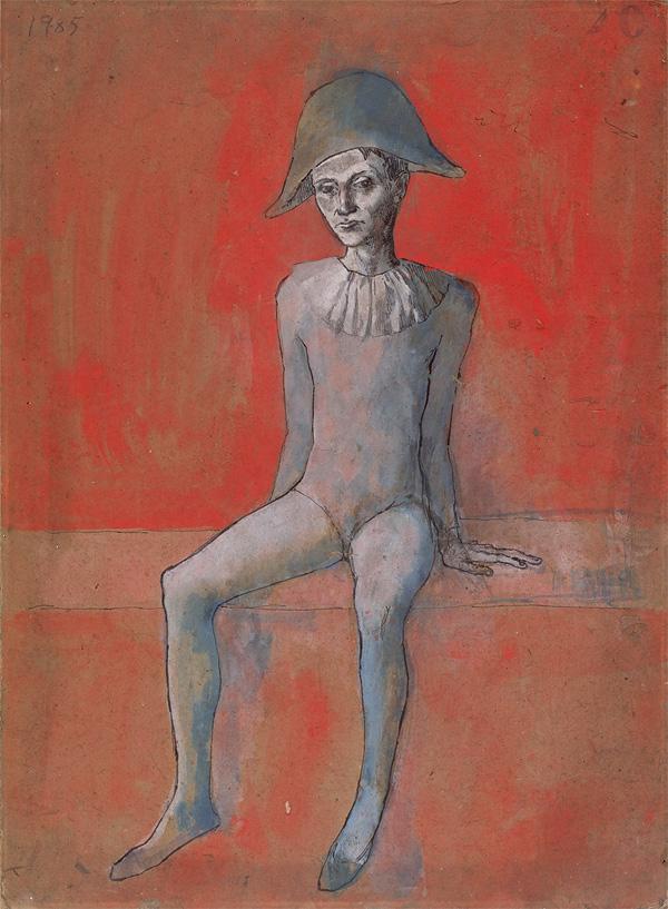 Картина Пабло Пикассо. Сидящий Арлекин. 1905