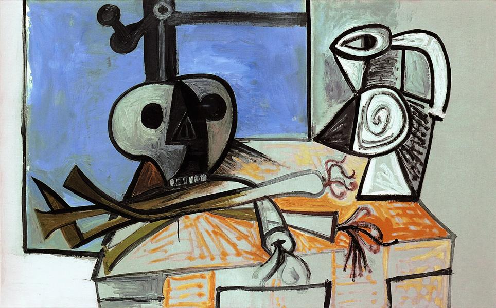 Картина Пабло Пикассо. Натюрморт — череп, кувшин и лук-порей. 1945