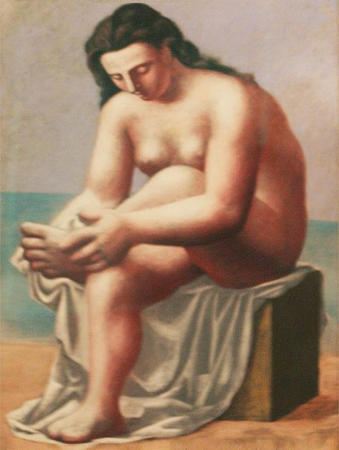 Картина Пабло Пикассо. Сидящая обнаженная, вытирающая ноги. 1921
