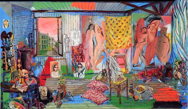 В мастерской Пикассо в бато Лавуар - картина Дэмиана Элвеса