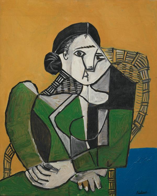 Картина Пабло Пикассо. Женщина, сидящая в кресле. 1953