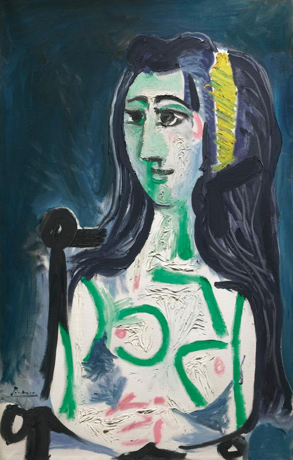 Картина Пабло Пикассо. Женщина, сидящая в кресле. 1963