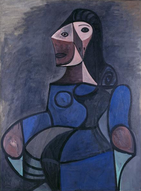 Картина Пабло Пикассо. Женщина в голубом. 1944