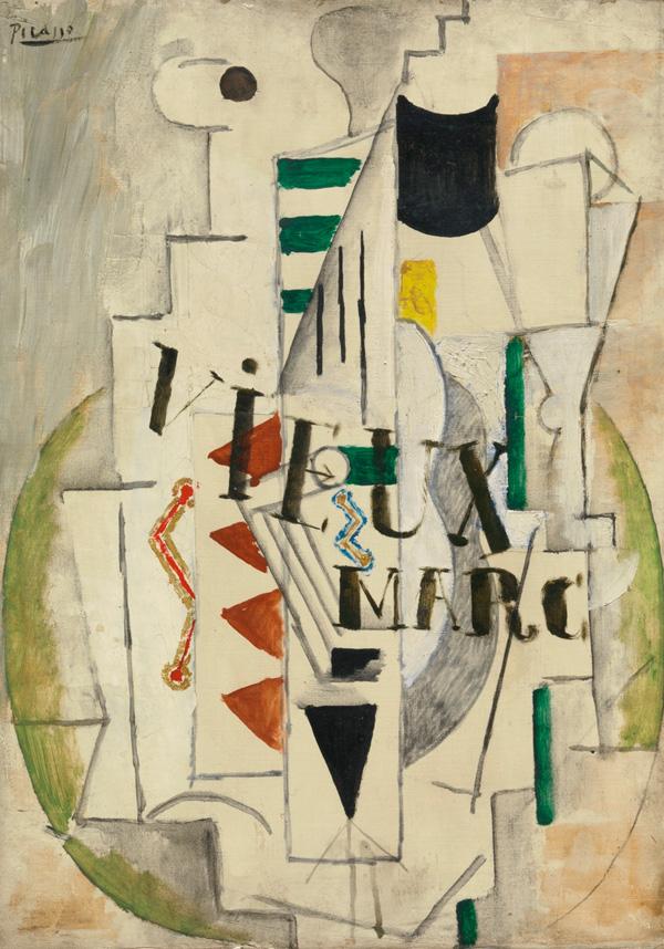 Картина Пабло Пикассо. Гитара, бокал, бутылка Vieux Marc. 1912 ($5,37 млн)