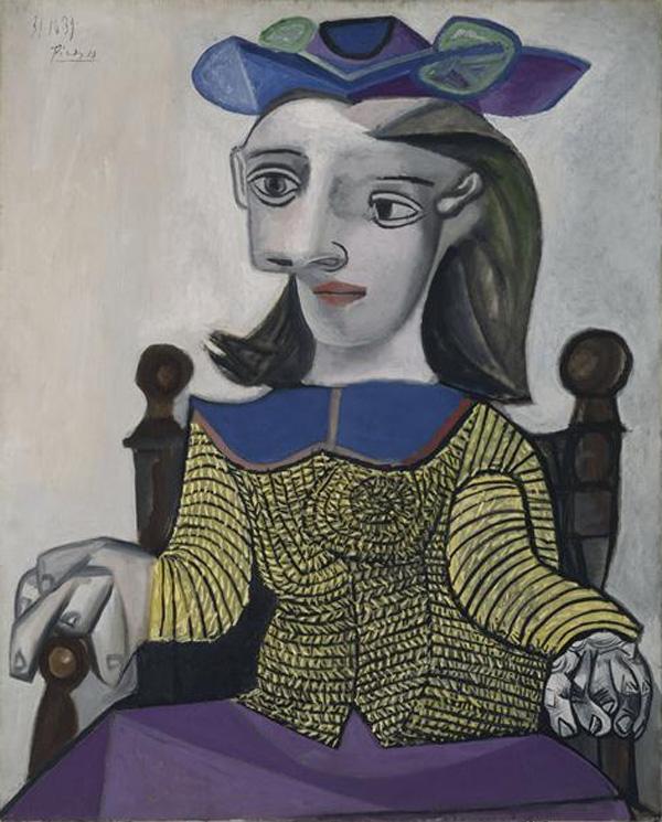 Картина Пабло Пикассо. Девушка в желтой кофте (Дора). 1939