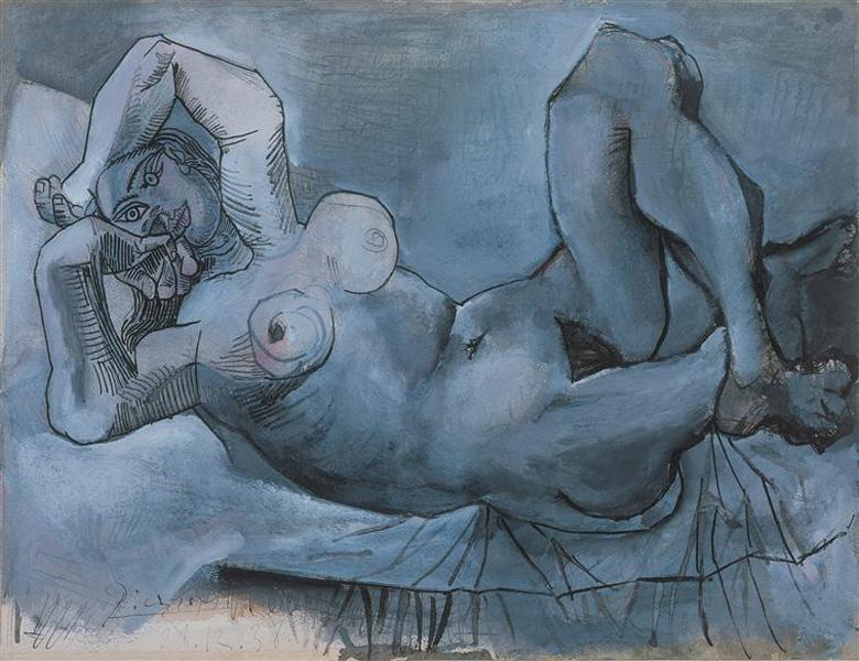 Картина Пабло Пикассо. Лежащая обнаженная. 1938