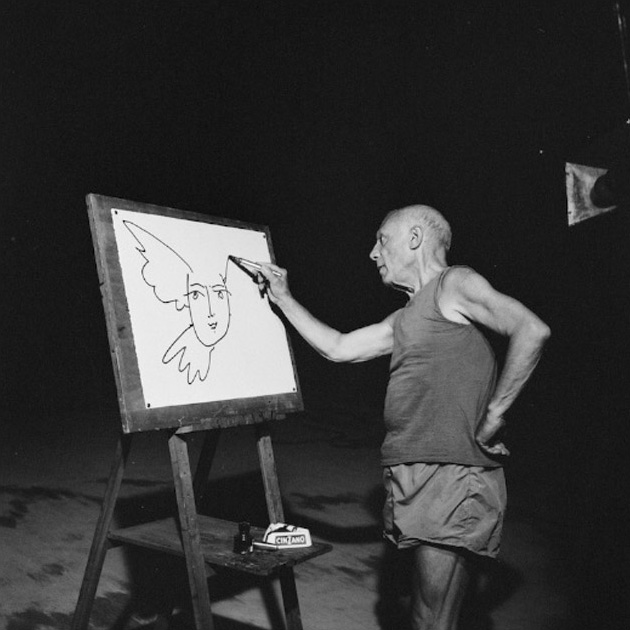 Эдвад Куинн - фото со съемочной площадки фильма Мистерия Пикассо, Канны, 1955