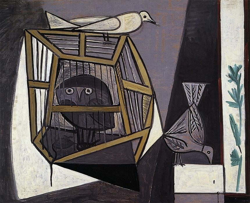 Картина Пабло Пикассо. Клетка с совой. 1947