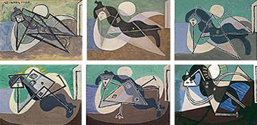 Пабло Пикассо - Обнаженная, загорающая на пляже, 1932, варианты картины