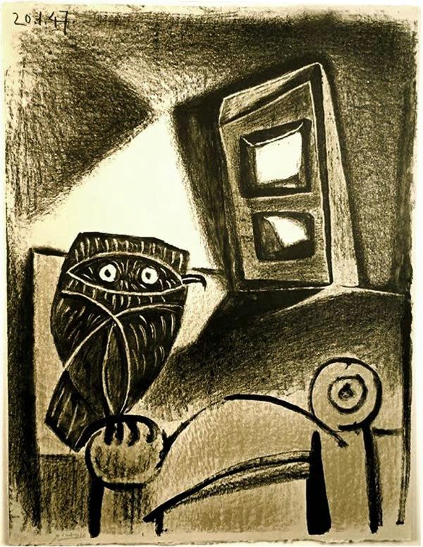 Картина Пабло Пикассо. Сова на стуле, охристый фон. 1947