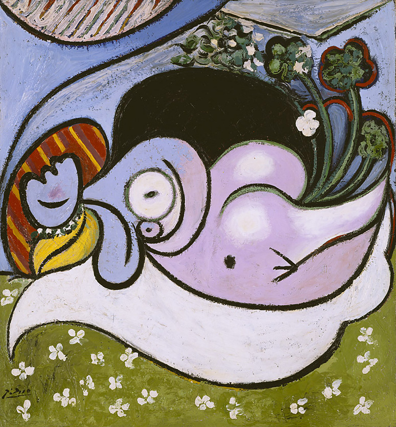 Картина Пабло Пикассо. Лежащая обнаженная с цветами. 1932