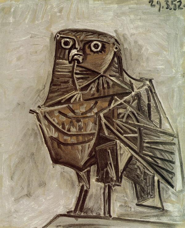 Картина Пабло Пикассо. Сова, вестник смерти. 1952
