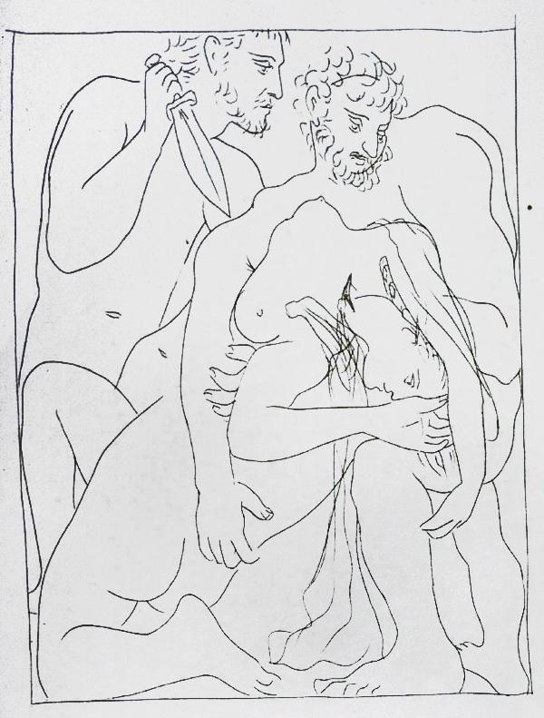 324-325_Polyxene,-Fille-de-Priam-est-egorgee-sur-la-tombe-d-Achille_Picasso_Les-Metamorphoses-by-Ovid