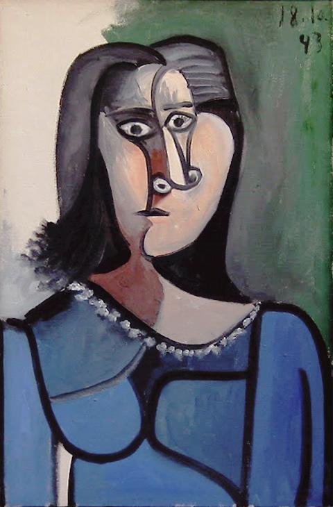 Картина Пабло Пикассо. Бюст женщины в синем платье с ожерельем. 1943