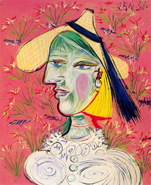 Картина Пабло Пикассо. Женщина в соломенной шляпе на цветочном фоне (Мария-Тереза). 1938