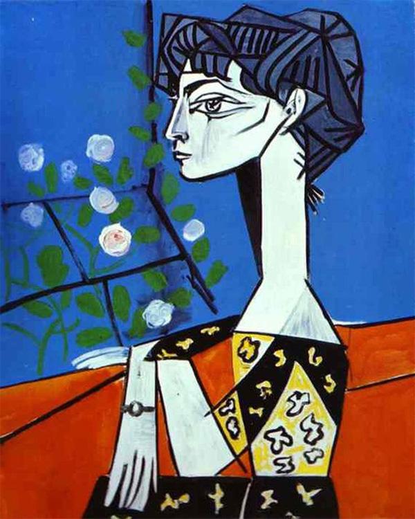 Картина Пабло Пикассо. Жаклин с цветами. 1954