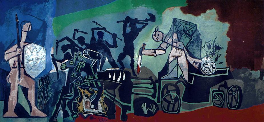 Картина Пабло Пикассо. Война (Война и Мир). Роспись часовни в Валлорисе. 1952