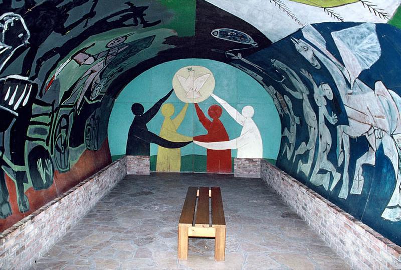 Картина Пабло Пикассо. Дружба народов (Война и Мир). Роспись часовни в Валлорисе. 1958