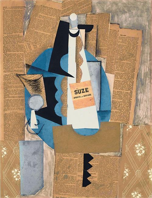 Картина Пабло Пикассо. Бутылка Сьюз. 1912