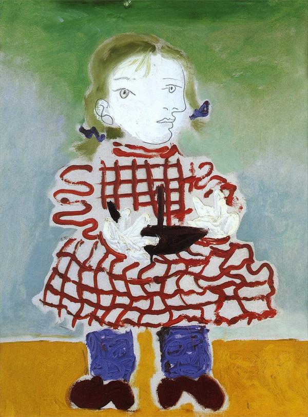 Картина Пабло Пикассо. Майя в платье в красную клетку. 1938