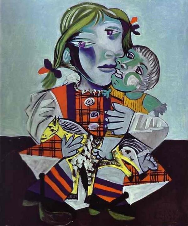 Картина Пабло Пикассо. Майя, дочь Пикассо, с куклой. 1938