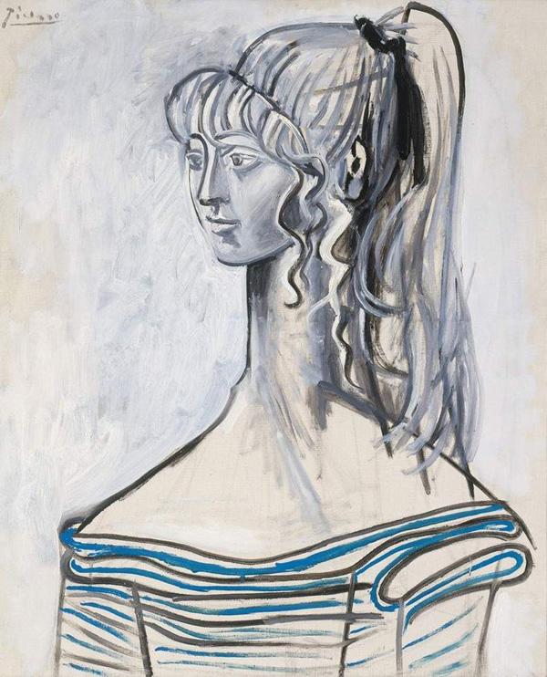 Картина Пабло Пикассо. Портрет Сильветт Давид 2. 1954