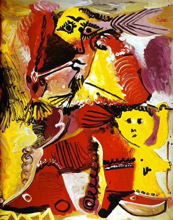 Картина Пабло Пикассо. Фигура Рембрандта и Эрос. 1969