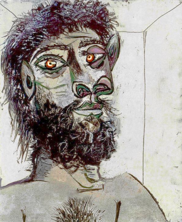 Картина Пабло Пикассо. Голова бородатого мужчины. 1938