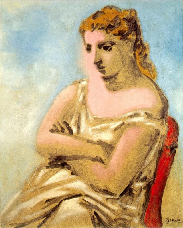 Картина Пабло Пикассо. Женщина в голубом и розовом. 1923