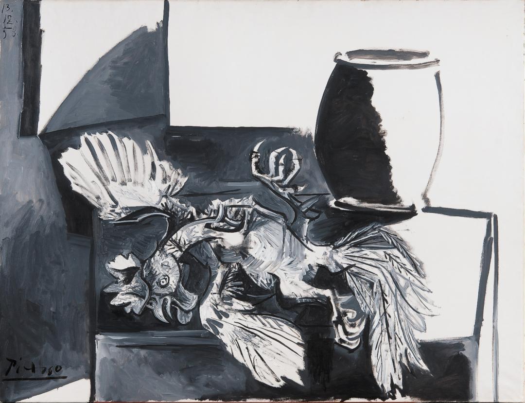 Картина Пабло Пикассо. Мертвый петух и банка. 1953