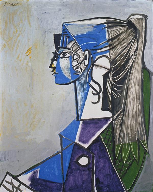 Картина Пабло Пикассо. Портрет Сильветт Давид в зеленом кресле. 1954