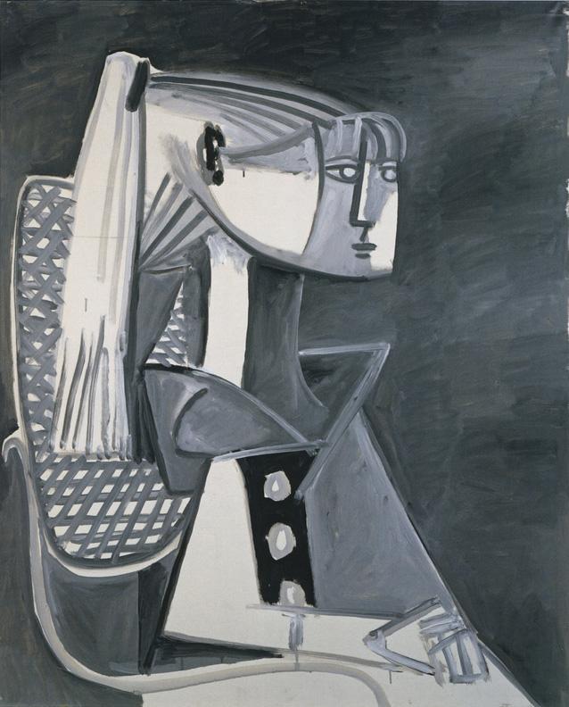 Картина Пабло Пикассо. Портрет Сильветт Давид 3. 1954